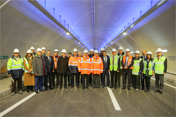 Transport, Maritime and Communication Minister Ahmet Arslan inspects the works.